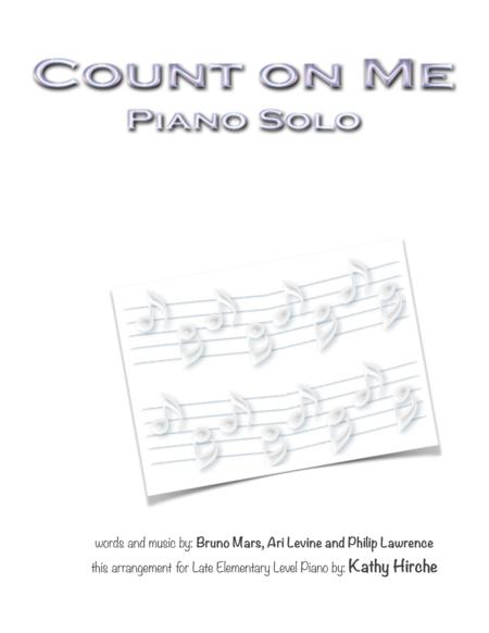 Download Count On Me Piano Solo Sheet Music By Bruno Mars Sheet