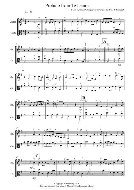 Prelude from Te Deum for Violin and Viola