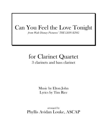 Can You Feel the Love Tonight for Clarinet Quartet