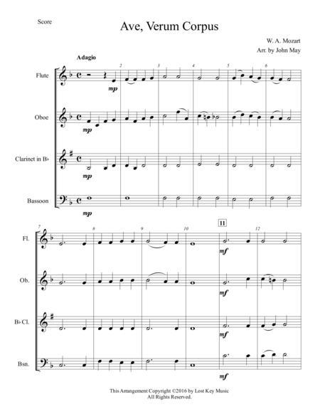 Ave, Verum Corpus-Woodwind Quartet
