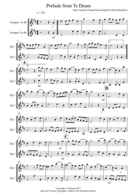 Prelude from Te Deum for Trumpet Duet
