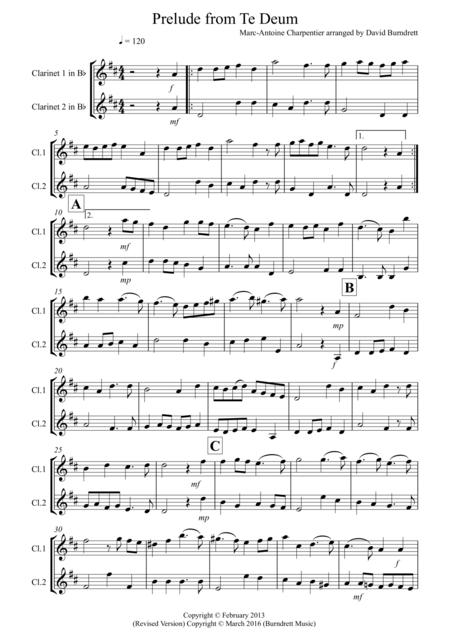 Prelude from Te Deum for Clarinet Duet