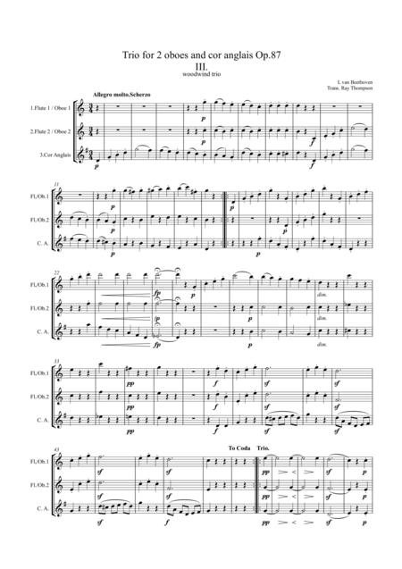 Beethoven: Trio for 2 oboes and cor anglais Op.87 Mvt.3 Menuetto and Trio - mixed woodwind trio