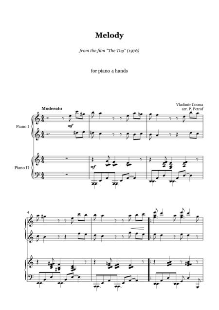 Vladimir Cosma - MELODY from the film ''The Toy'' - for piano 4 hands