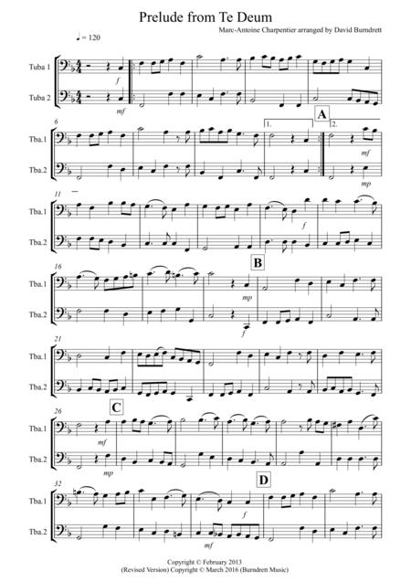 Prelude From Te Deum for Tuba Duet