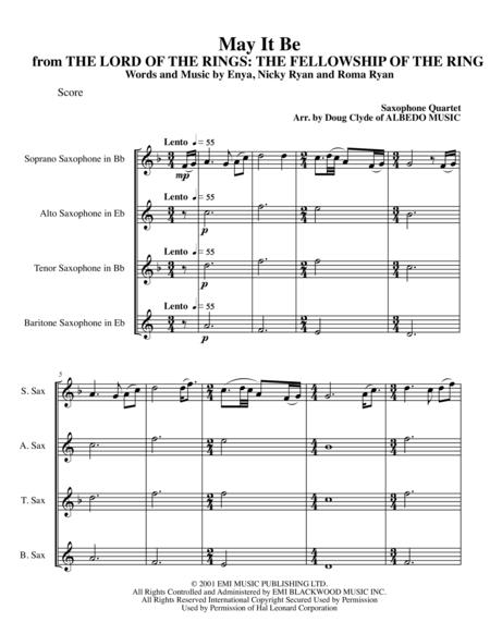 May It Be from THE LORD OF THE RINGS: THE FELLOWSHIP OF THE RING for Saxophone Quartet