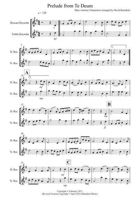 Prelude from Te Deum for Descant and Treble Recorder