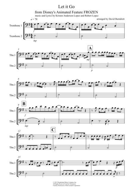 Let It Go (from Frozen) for Trombone Duet