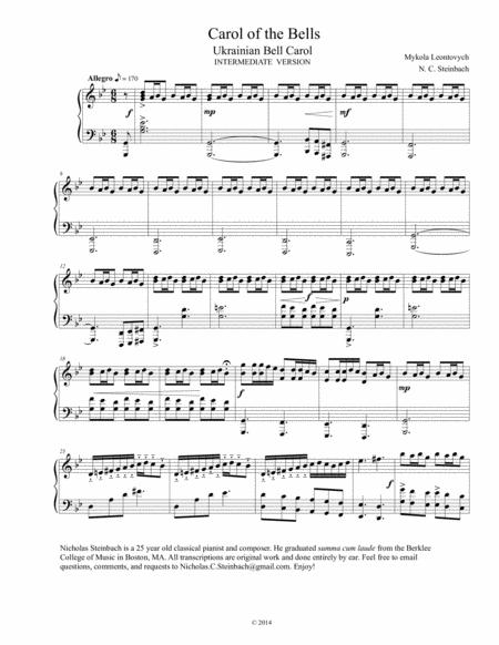 Carol of the Bells - Intermediate Piano