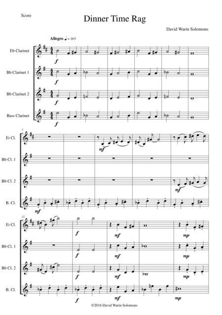 Dinner Time Rag for clarinet quartet (1 E-flat Clarinet, 2 B-flat clarinets, 1 bass clarinet)