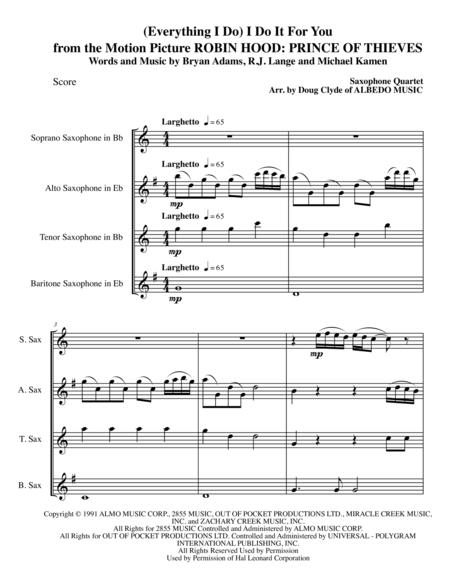(Everything I Do) I Do It For You from the Motion Picture ROBIN HOOD: PRINCE OF THIEVES for Saxophone Quartet