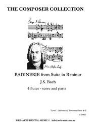 BACH BADINERIE from Suite in B minor for 4 flutes
