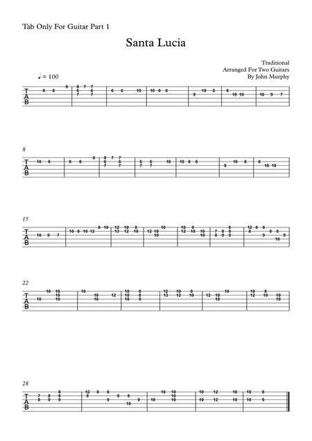 Santa Lucia For Guitar Duo Tab Only For Guitar Part 1