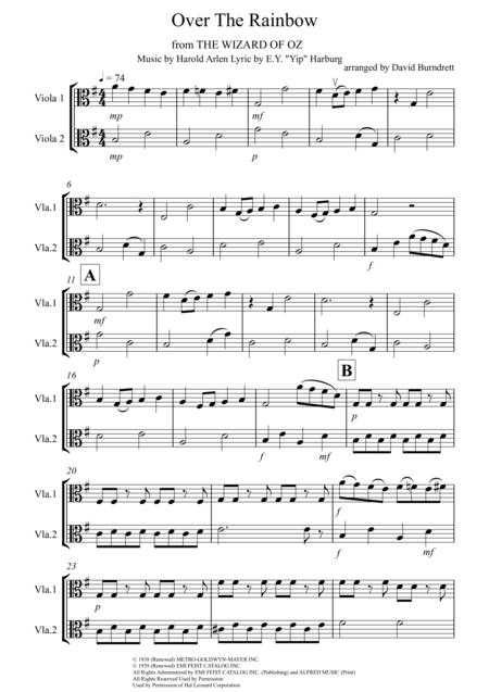 Over The Rainbow (from The Wizard Of Oz) for Viola Duet