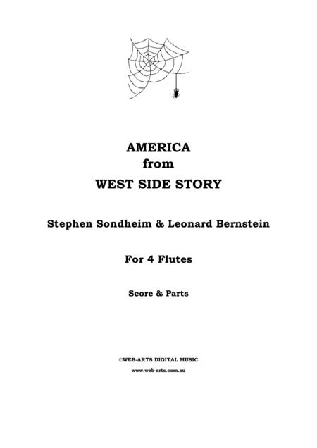 WEST SIDE STORY - AMERICA for 4 flutes