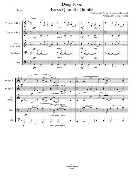 Deep River - Brass Quartet / Quintet - Intermediate