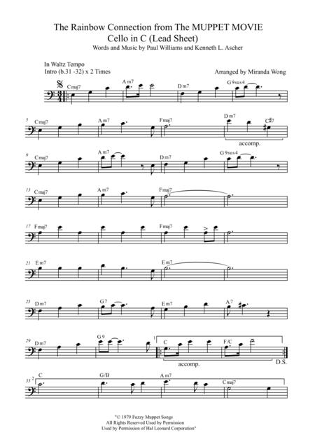 Download The Rainbow Connection - Lead Sheet In C (Bass Clef) Sheet ...