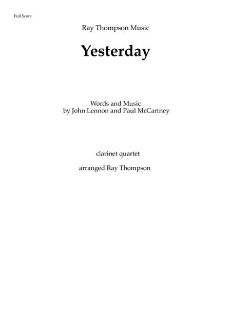 The Beatles: Yesterday - clarinet quartet