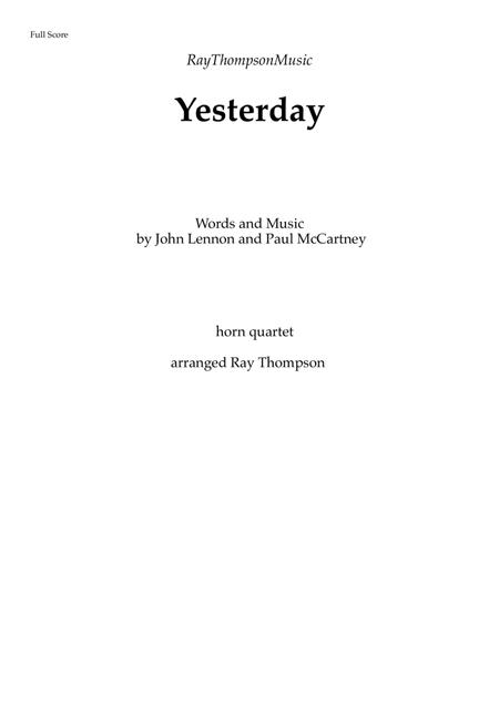 The Beatles: Yesterday - horn quartet