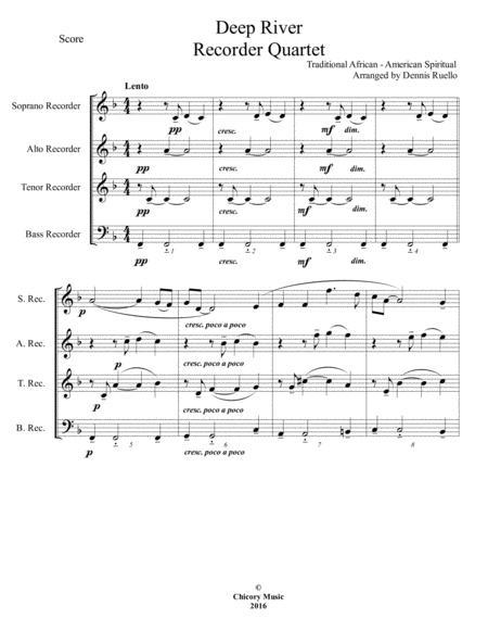 Deep River - Recorder Quartet (SATB) - Intermediate