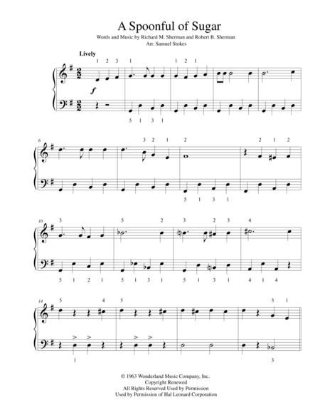 A Spoonful of Sugar from Disney's MARY POPPINS - for early intermediate piano