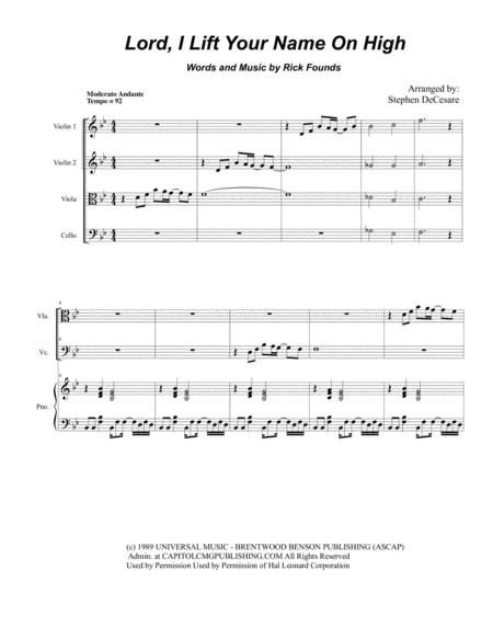 Lord, I Lift Your Name On High (for String Quartet and Piano)