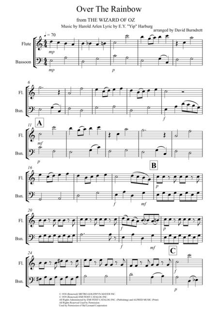 Over The Rainbow (from The Wizard Of Oz) for Flute and Bassoon Duet