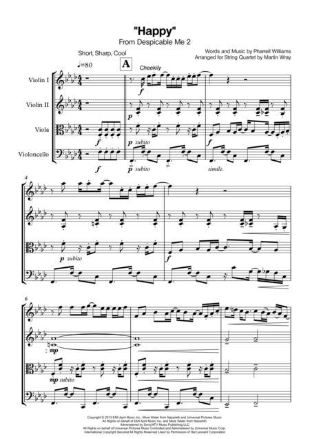 Download Happy - String Quartet Sheet Music By Pharrell - Sheet ...