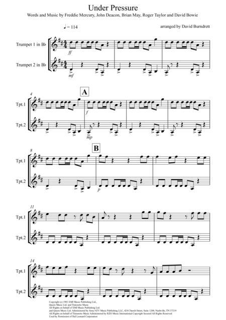 Under Pressure for Trumpet Duet