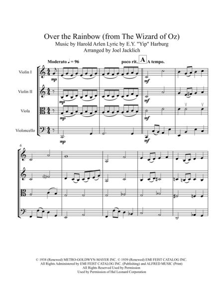 Over The Rainbow From Wizard Of Oz For String Quartet