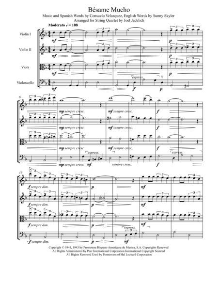 Besame Mucho (for String Quartet)