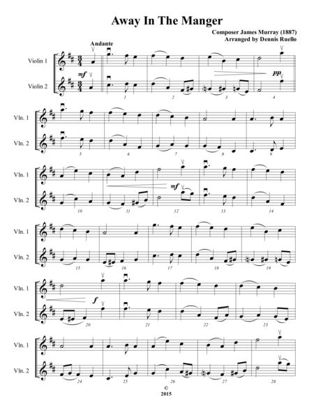 Away in the Manger / It Came Upon a Midnight Clear - Violin Duet - Intermediate