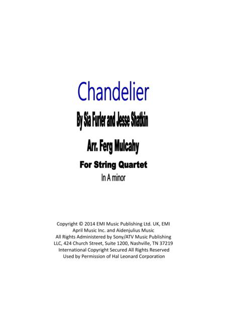 Download chandelier by sia for string quartet in a minor sheet music chandelier by sia for string quartet in a minor mozeypictures Images