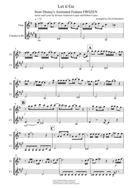 Download Let It Go From Frozen For Flute And Clarinet Duet Sheet