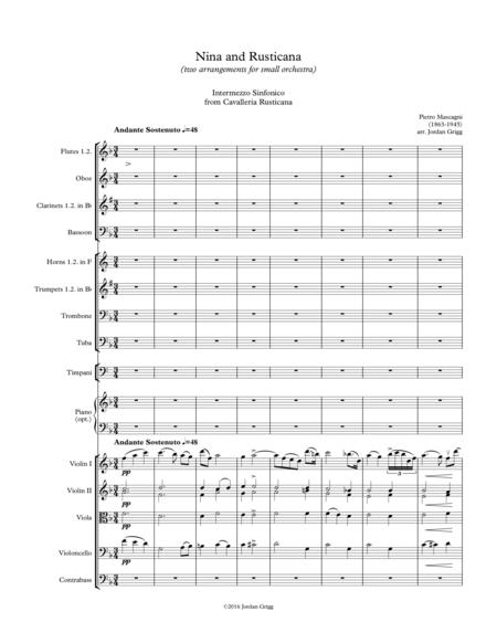 Nina and Rusticana (two arrangements for small orchestra)