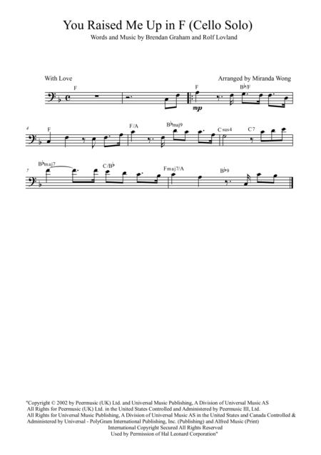 Download You Raise Me Up Cello And Piano In F Key With Chords
