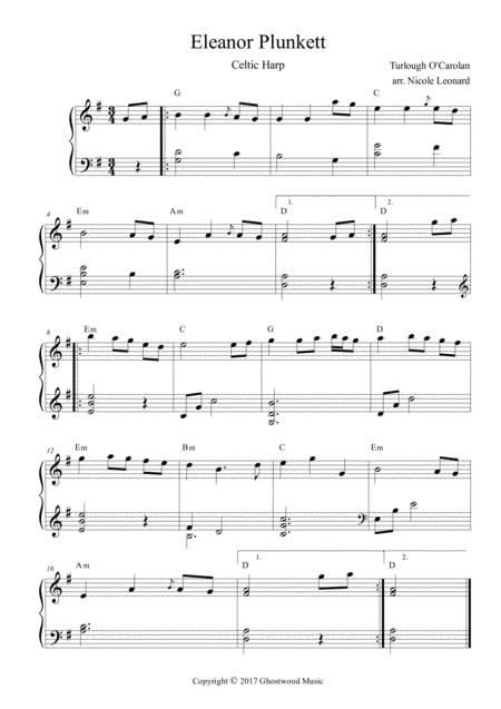 Download Eleanor Plunkett For Celtic Harp With Chords Sheet Music