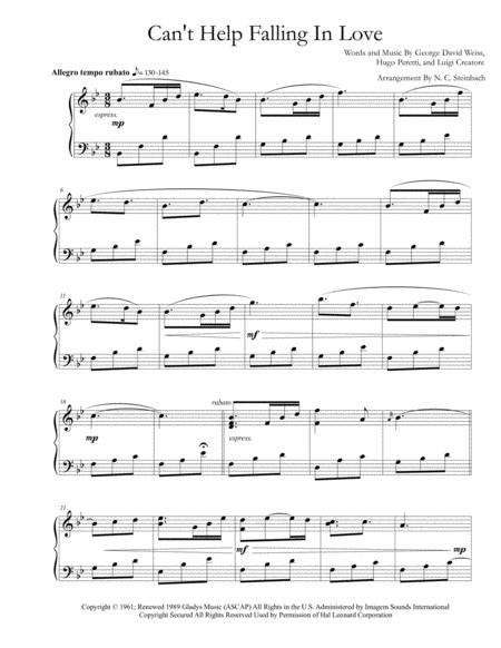 Download Cant Help Falling In Love Piano Sheet Music By Michael
