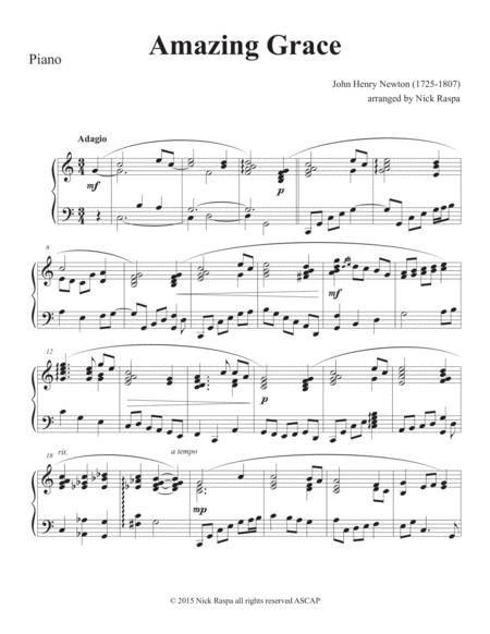 Amazing Grace (piano and clarinet in B Flat) - Piano part
