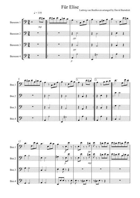 Fur Elise for Bassoon Quartet