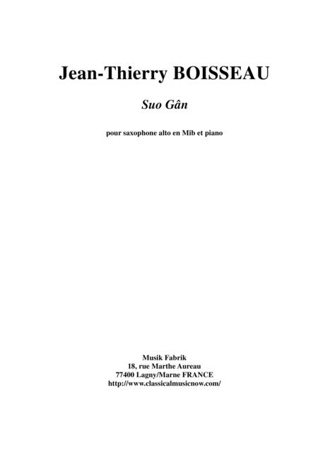 Traditional Welsh Lullaby: Suo Gân, arranged for Eb alto saxophone and piano by Jean-Thierry Boisseau