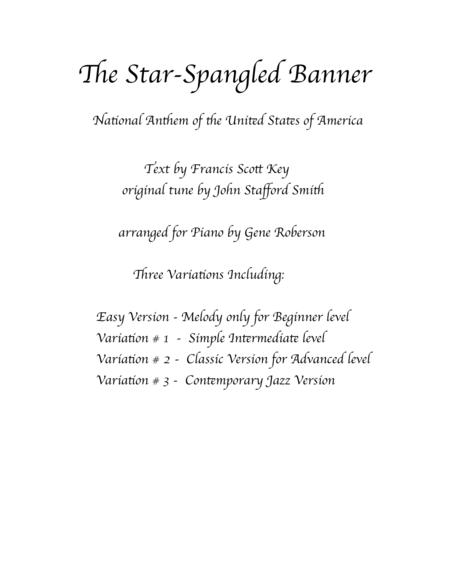 The Star-Spangled Banner  Variations for PIANO  Easy - Advanced