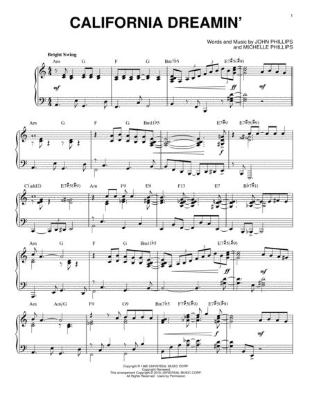 Download California Dreamin\' Sheet Music By The Mamas & The Papas ...