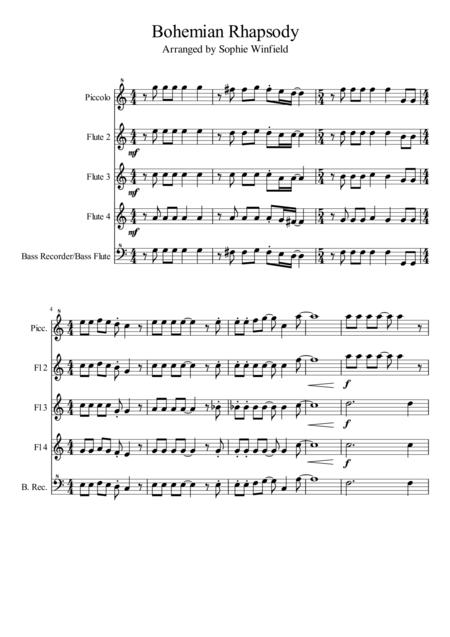 Bohemian Rhapsody - Arranged for flute choir (Piccolo, 3 Flutes, Bass flute/recorder)