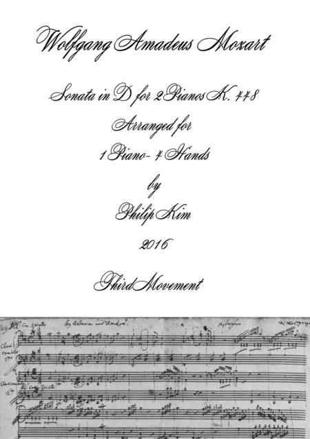 Mozart Sonata in D, K. 448 for 2 Pianos (3rd movement) Arranged for 1 piano-4 hands by Philip Kim