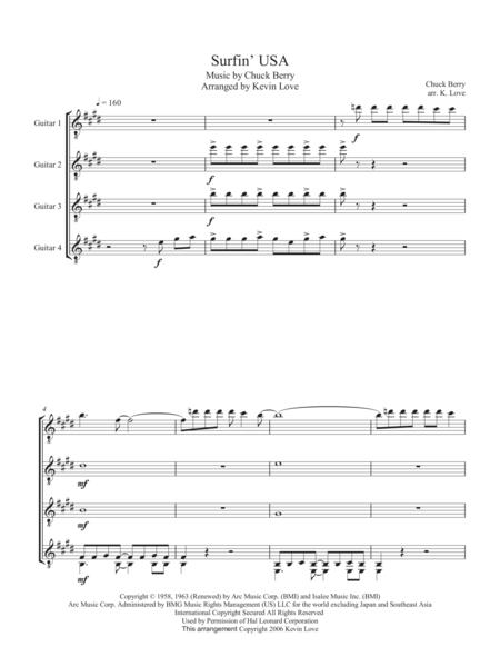 Surfin' USA (Guitar Quartet) - Score and Parts