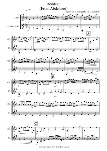 Rondeau (from Abdelazer) for Oboe and Clarinet Duet