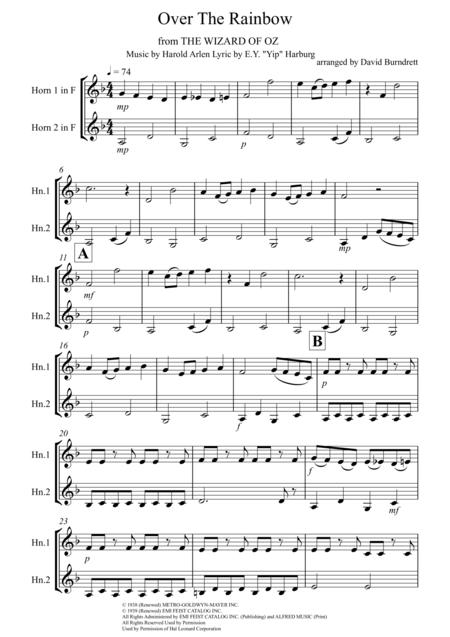 Over The Rainbow (from The Wizard Of Oz) for French Horn Duet