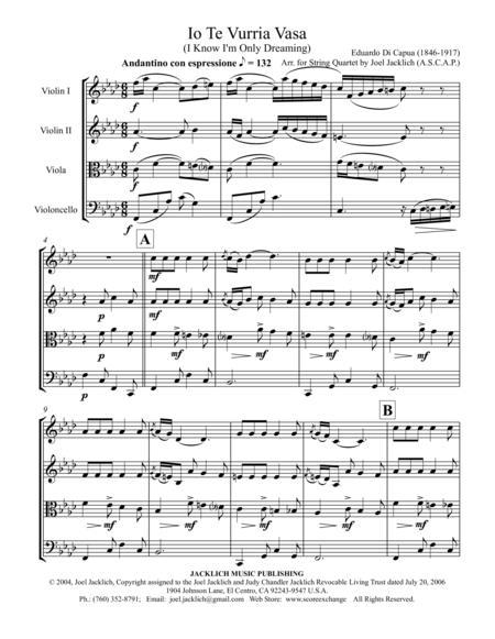 Io Te Vurria Vasa (I Know I'm Only Dreaming) for String Quartet