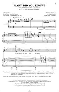 Mary, Did You Know? (Arr. Joseph M. Martin and David Angerman)